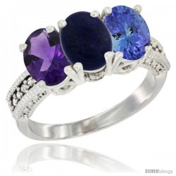 14K White Gold Natural Amethyst, Lapis & Tanzanite Ring 3-Stone 7x5 mm Oval Diamond Accent