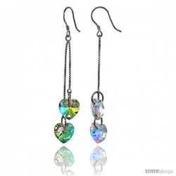 Sterling Silver Dangle Earrings w/ Yellow Swarovski Crystal Double Heart 2 1/2 in. (64 mm) tall, Rhodium Finish