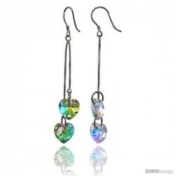 Sterling Silver Dangle Earrings w/ Yellow Swarovski Crystal Double Heart 2 1/2 in. (64 mm) tall, Rhodium Finish