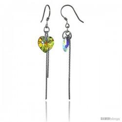 Sterling Silver Dangle Earrings w/ Yellow Swarovski Crystal Heart 2 1/4 in. (58 mm) tall, Rhodium Finish