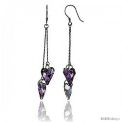 Sterling Silver Dangle Earrings w/ Purple Swarovski Crystal Double Heart 2 1/2 in. (63 mm) tall, Rhodium Finish