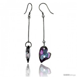 Sterling Silver Dangle Earrings w/ Purple Swarovski Crystal Fancy Heart 2 5/16 in. (59 mm) tall, Rhodium Finish