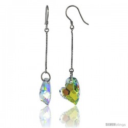 Sterling Silver Dangle Earrings w/ Yellow Swarovski Crystal Fancy Heart 2 5/16 in. (59 mm) tall, Rhodium Finish