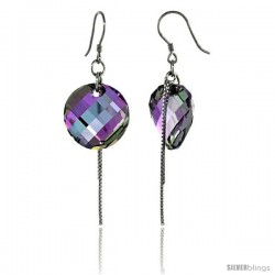Sterling Silver Dangle Earrings w/ Purple Swarovski Crystal Disc 2 1/4 in. (58 mm) tall, Rhodium Finish