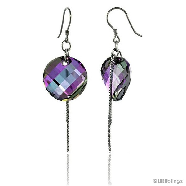https://www.silverblings.com/15295-thickbox_default/sterling-silver-dangle-earrings-w-purple-swarovski-crystal-disc-2-1-4-in-58-mm-tall-rhodium-finish.jpg