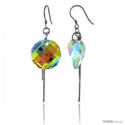 Sterling Silver Dangle Earrings w/ Yellow Swarovski Crystal Disc 2 1/4 in. (58 mm) tall, Rhodium Finish