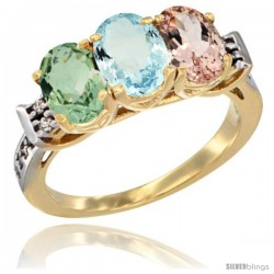 10K Yellow Gold Natural Green Amethyst, Aquamarine & Morganite Ring 3-Stone Oval 7x5 mm Diamond Accent