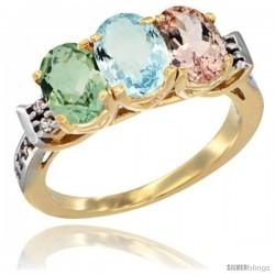 10K Yellow Gold Natural Green Amethyst, Aquamarine & Morganite Ring 3-Stone Oval 7x5 mm Diamond Accent