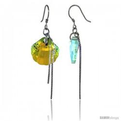 Sterling Silver Dangle Earrings w/ Yellow Swarovski Crystal Fan Shape 2 1/4 in. (58 mm) tall, Rhodium Finish