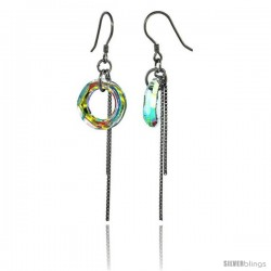 Sterling Silver Dangle Earrings w/ Yellow Swarovski Crystal Doughnut 2 1/4 in. (58 mm) tall, Rhodium Finish