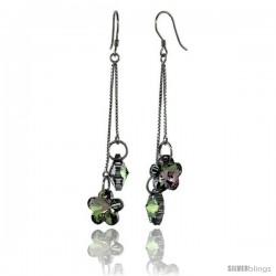 Sterling Silver Dangle Earrings w/ Purple Swarovski Crystal Double Flower 2 5/8 in. (62 mm) tall, Rhodium Finish