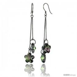 Sterling Silver Dangle Earrings w/ Purple Swarovski Crystal Double Flower 2 5/8 in. (62 mm) tall, Rhodium Finish