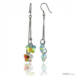 Sterling Silver Dangle Earrings w/ Yellow Swarovski Crystal Double Flower 2 5/8 in. (62 mm) tall, Rhodium Finish