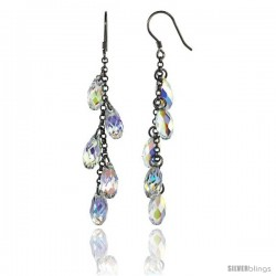 Sterling Silver Dangle Earrings w/ Yellow Swarovski Crystal 2 1/2 in. (64 mm) tall, Rhodium Finish