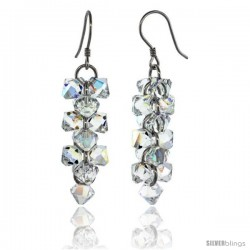 Sterling Silver Dangle Earrings w/ Yellow Swarovski Crystal Bicone Cluster 1 13/16 in. (46 mm) tall, Rhodium Finish