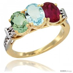 10K Yellow Gold Natural Green Amethyst, Aquamarine & Ruby Ring 3-Stone Oval 7x5 mm Diamond Accent