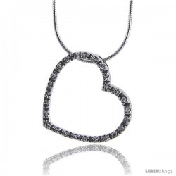 "Sterling Silver Eternity Heart 24mm (7/8"") with 1.5mm Cubic Zirconia"