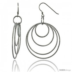 Sterling Silver Graduated Wire Dangling Circles Hanging Hoop Diamond Cut Earrings w/ Rhodium Finish, 2 5/8 in. (67 mm) tall