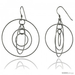 Sterling Silver Graduated Wire Dangling Circles Hanging Hoop Diamond Cut Earrings w/ Rhodium Finish, 2 3/8 in. (60 mm) tall