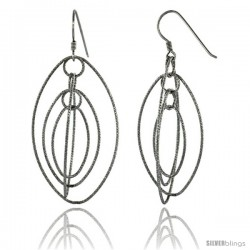Sterling Silver Graduated Wire Dangling Ovals Hanging Hoop Diamond Cut Earrings w/ Rhodium Finish, 2 1/2 in. (63 mm) tall