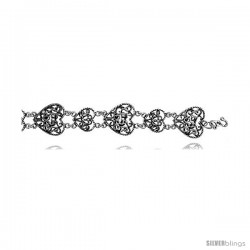Sterling Silver Filigree Heart Y2K Commemorative Bracelet