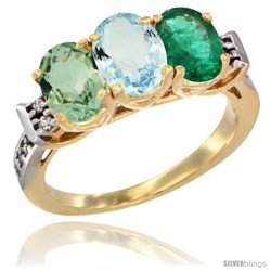10K Yellow Gold Natural Green Amethyst, Aquamarine & Emerald Ring 3-Stone Oval 7x5 mm Diamond Accent