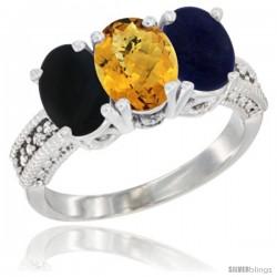 10K White Gold Natural Black Onyx, Whisky Quartz & Lapis Ring 3-Stone Oval 7x5 mm Diamond Accent