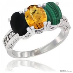 10K White Gold Natural Black Onyx, Whisky Quartz & Malachite Ring 3-Stone Oval 7x5 mm Diamond Accent