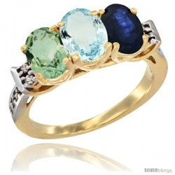 10K Yellow Gold Natural Green Amethyst, Aquamarine & Blue Sapphire Ring 3-Stone Oval 7x5 mm Diamond Accent