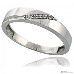 10k White Gold Mens Diamond Wedding Band Ring 0.04 cttw Brilliant Cut, 3/16 in wide -Style 10w015mb