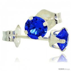 September Birthstone Blue Sapphire-Colored 4mm (0.25 Carat Each) Swarovski Crystal Sterling Silver Stud Earrings