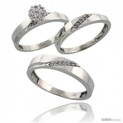 10k White Gold Diamond Trio Engagement Wedding Ring 3-piece Set for Him & Her 4.5 mm & 3.5 mm wide 0.13 cttw -Style 10w015w3