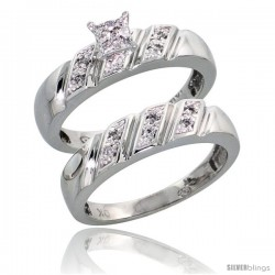 10k White Gold Diamond Engagement Rings Set 2-Piece 0.10 cttw Brilliant Cut, 3/16 in wide -Style 10w016e2