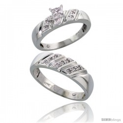 10k White Gold Diamond Engagement Rings 2-Piece Set for Men and Women 0.12 cttw Brilliant Cut, 5mm & 6mm wide