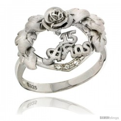 Sterling Silver Quinceanera 15 ANOS Heart Wreath Ring CZ stones Rhodium Finished, 25/32 in wide