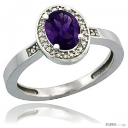 Sterling Silver Diamond Natural Amethyst Ring 1 ct 7x5 Stone 1/2 in wide