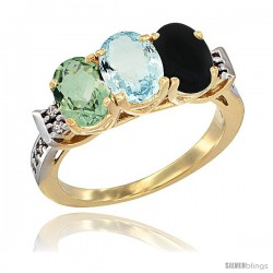 10K Yellow Gold Natural Green Amethyst, Aquamarine & Black Onyx Ring 3-Stone Oval 7x5 mm Diamond Accent