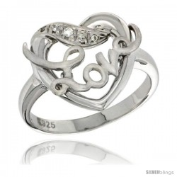 Sterling Silver LOVE Ribbon Ring CZ stones Rhodium Finished, 11/16 in wide