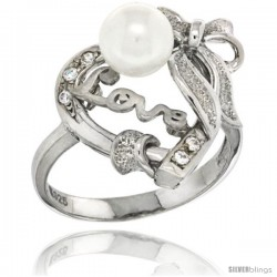 Sterling Silver Heart LOVE Bow w/ Faux Pearl Ring CZ stones Rhodium Finished, 23/32 in wide