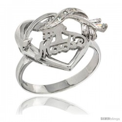 Sterling Silver No. 1 Madre w/ Cupid's Bow Heart Ring CZ stones Rhodium Finished, 13/16 in wide
