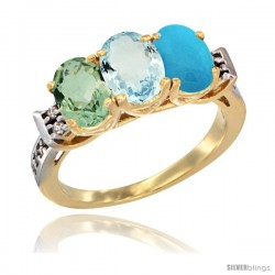 10K Yellow Gold Natural Green Amethyst, Aquamarine & Turquoise Ring 3-Stone Oval 7x5 mm Diamond Accent