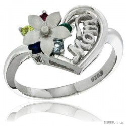 Sterling Silver Heart Mom Ring with Flower & Color CZ stones Rhodium Finished, 5/8 in wide