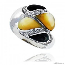 "Pear-shaped Yellow & Black Mother of Pearl Ring in Solid Sterling Silver, Accented with Tiny High Quality CZ's, 11/16"" (18 mm)"