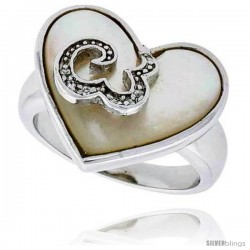 Mother of Pearl Heart Ring in Solid Sterling Silver, Accented with Tiny High Quality CZ's, 11/16 (18 mm) wide