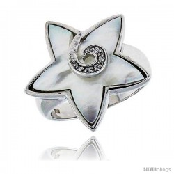 Mother of Pearl Star Ring in Solid Sterling Silver, Accented with Tiny High Quality CZ's, 7/8 (22 mm) wide