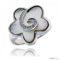 Mother of Pearl Clover Ring in Solid Sterling Silver, Accented with Tiny High Quality CZ's, 13/16 (20 mm) wide
