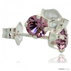 June Birthstone Alexandrite-Colored 4mm (0.25 Carat Each) Swarovski Crystal Sterling Silver Stud Earrings