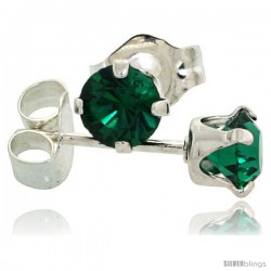 May Birthstone Emerald-Colored 4mm (0.25 Carat Each) Swarovski Crystal Sterling Silver Stud Earrings