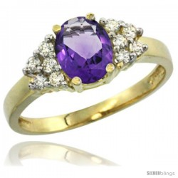 14k Yellow Gold Ladies Natural Amethyst Ring oval 8x6 Stone Diamond Accent