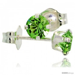 August Birthstone Peridot-Colored 4mm (0.25 Carat Each) Swarovski Crystal Sterling Silver Stud Earrings